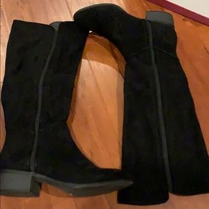Below the knee suede boots